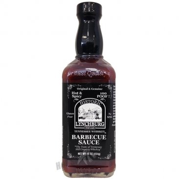 Lynchburg Tennessee Whiskey BBQ Sauce- Hot N Spicy (100 Poof), 16oz